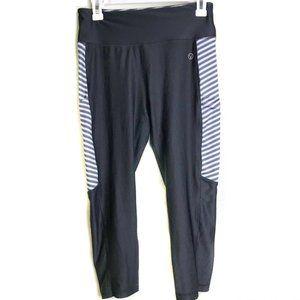Vogo Athletica Black & White Striped Crop Leggings
